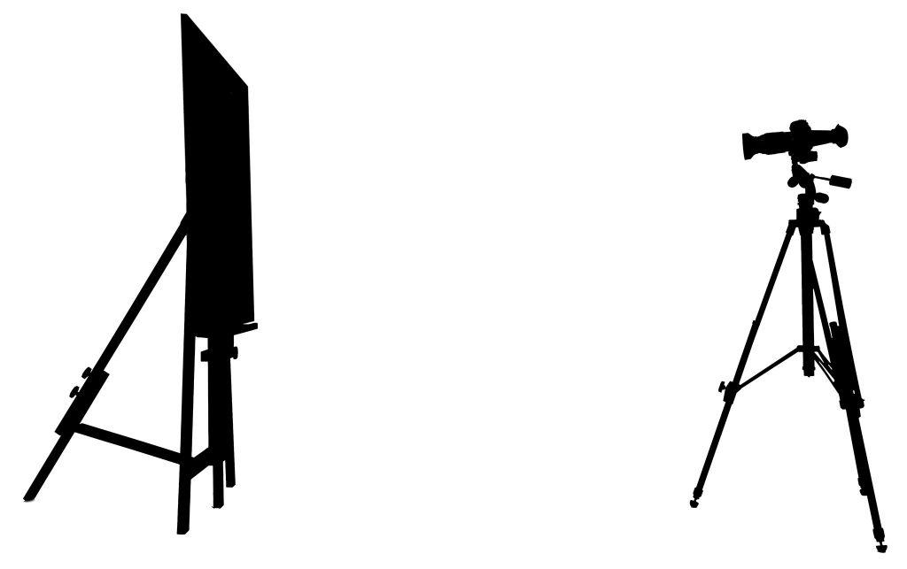Reproduktionen. Malerstafelei mit Gemälde und professionelle Kamera auf Stativ auf Gemäde gerichtet. Reprofotografie von FOTOWEITBLICK, Copyright Raphael Lichius