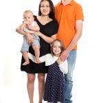 Familienfoto, Mutter, Vater, Kind und Baby