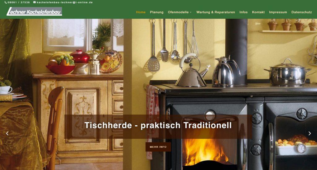 Webseite Kachelofenbau Lechner